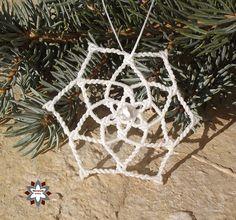 Macrame snowflake star christmas ornament Makramé hópehely hópihe csillag karácsonyi dísz
