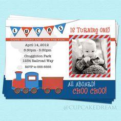 Train Birthday Invitation Boy #train #birthday #invitation