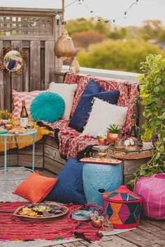 A Colorful Rooftop Party, Colorful Party Rooftop Outdoor Spaces, Outdoor Living, Outdoor Decor, Deco Boheme Chic, Boho Chic, Bohemian Style, Bohemian Lifestyle, Rooftop Party, Rooftop Terrace