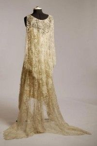 1920's French Cream Silk Lace back view