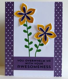 Awesomeness / / Stampin' Up: Flower Patch Stamp Set, Flower Fair Coordinating Framelits, Flower Patch Photopolymer Bundle, Regals Perfect Plum Backgrounds DSP