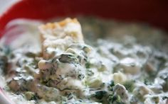 THE best cold spinach dip -- ever!!  Sour cream, Philadelphia cream cheese, fresh spinach, Knorr dry soup mix, and one packet of Ranch mix (that's optional).  Mix cream cheese spread, sour cream, and dressing mix in medium bowl until blended.  Drain/squeeze the water out of the spinach, then stir in the spinach and the remaining ingredients and refrigerate until chilled.