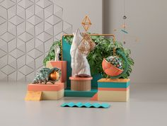 Self-promotion piece that explores postmodernism and surrealism through forms, objects and colors. The still life of random objects has a single mission: the look, simple and beautiful aesthetic. The set is eye-catching and extraordinarily conventional.