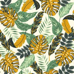 Tropical leaves and plants Premium Vecto. Art Deco Wallpaper, Iphone Background Wallpaper, Flower Wallpaper, Floral Illustrations, Botanical Illustration, Graphic Illustration, Paradis Tropical, Mint Aesthetic, Leave Pattern