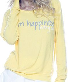 Peace Love World I Am Happiness Every Day Yellow Oversized Comfy Top Sweatshirt