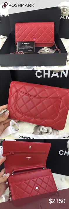 Auth Chanel NEW WOC Wallet On Chain Red Lambskin Pristine like new condition with box, dust bag and authenticity card. Serial number reads a 20-series. 100% GUARANTEED AUTHENTIC OR 10X YOUR MONEY BACK!! PHOTOS ARE TAKEN OF THE EXACT SAME ITEM YOU WILL RECEIVE! WHAT YOU SEE IS WHAT YOU GET*** PLEASE VISIT OUR WEBSITE AT WWW.AUTHENTICLUXURIESTW.COM or email me at authenticluxuries11@gmail.com for more detailed photos =). CHANEL Bags Crossbody Bags