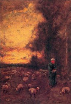 George Inness (American: 1825 - 1894) - End of Day (1855)