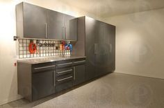 Powder-Coated Slate Cabinets #premiergarage #tailoredliving #bayarea #garage #home #cabinets #slate #gray #homeinmprovement #remodel #design #storage #organization