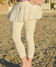 This White Lace Skirted Leggings - Toddler & Girls by POP Couture is perfect! #zulilyfinds
