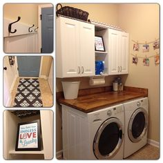 Laundry Room: I like it all but am most interested in building a removable counter like this