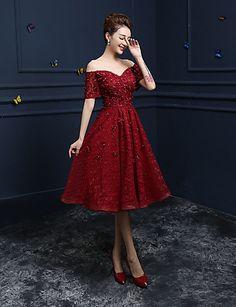 Cocktail Party / Prom Dress A-line Off-the-shoulder Tea-length Lace with Appliques / Sequins 4696339 2016 – $79.99