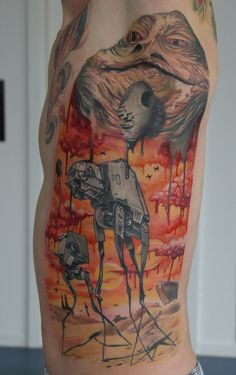 Whoa, a Salvador Dali Star Wars tattoo. Two great tastes that taste great together.