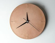Minimalist Wall Clock Leather Wall Clock for by ilemleathergoods The clock is made from quality leather on face and fixed with wood back.