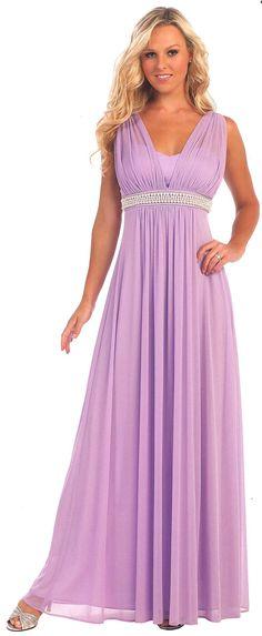 Evening Dresses Bridesmaid Dresses UNDER $200<BR>6085<BR>V neckline full length dress with sheer ruched bodice, beaded empire waist