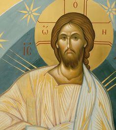 Christ icon detail by Aleksandr Stal'nov Religious Images, Religious Icons, Religious Art, Byzantine Icons, Byzantine Art, Anima Christi, Roman Church, Religious Paintings, Jesus Pictures