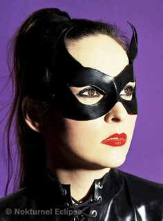 Black Catwoman Leather Mask with Little Cat Ears by Nokturnel Eclipse: $34.99