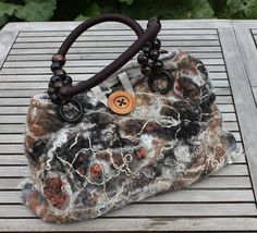 Handmade nuno felted wool bag in black grey beige and brown neutral palette. One of a kind Wearable fibre Art. Brown felted wool purse / tote/ handbag. Highly textural individualist piece www.facebook.com/angelab5705