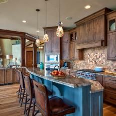 Rustic Neutral Kitchen With Pendant Lights