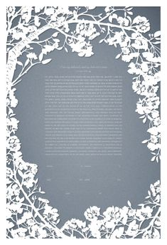 Papercut cherry blossoms ketubah