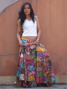 how to make a long patchwork skirt