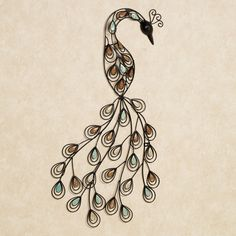 "photo 1 of 2 The Resting Peacock Metal Wall Art presents one of nature's most dazzling creatures in a stylish, abstract form. Handcrafted wrought iron, this stylized wall art features the openwork design of a peacock, handpainted in black. Wall art is covered in teardrop-shaped stones in tan, brown, and aqua, representing a peacock's renowned feathers. 18""x35"". Peacock metal wall art will hang vertical or horizontal Handcrafted & handpainted Stylish depiction of the beautiful peacock"