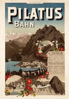 """Johannes WEBER – Vintage poster – One of the oldest Swiss travel poster for the summer 1892 time-table, showing the Pilatus mountain over Lucerne and the """"Lake of the four cantons"""" A classic Swiss travel poster finely printed by stone-lithography. Train Posters, Railway Posters, Vintage Travel Posters, Vintage Postcards, Switzerland Summer, Lucerne Switzerland, British Railways, Swiss Travel, Chamonix"""