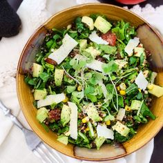 Gorgeous greens! This Summer Corn, Arugula and Avocado Quinoa Salad is definitely divine.