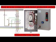 How to Wire Contactor and Motor Protection Switch - Direct OnLine Starter - Explanation Ladder Logic, Electrical Projects, Cad Drawing, Electric Motor, Control System, Circuit, Diagram, Wire, Youtube