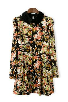 Floral Printing Lace Collar Dress