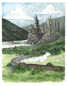 Hogwarts Castle Watercolor Painting - Harry Potter Art Print - Hogwarts Express Illustration - Nursery Wall Decor