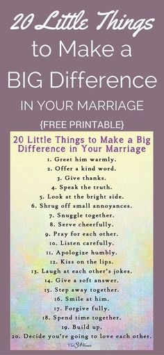FREE Printable: 20 Little Things to Make a Big Difference in Your Marriage