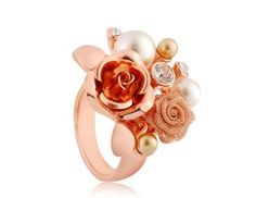 Amazon.com: Annas Favorite 18K Gold Plated Alloy Flower Ring #8 (Gold): Toys & Games