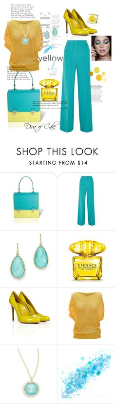 """Blue & Yellow"" by Diva of Cake on Polyvore featuring Jurekka, Etro, Ippolita, Versace, Casadei, jon & anna and The Gypsy Shrine"