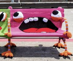 Yarn bomb benches in San Francisco