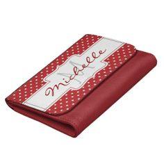 Red Polka Dot Name Monogram Custom Wallet