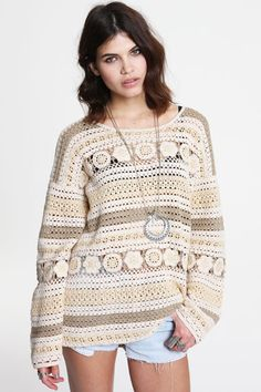 Minkpink Oversized Macrame Knit Sweater