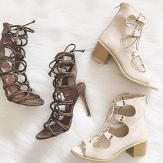 Nude Lace Up Sandal Heels This is only for the right shoe. Brand new size US 7, purchased from UK size 38 Missguided Shoes Heels