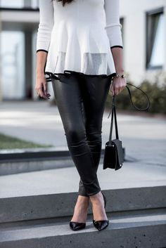 Jeanette Sundøy - By Malene Birger - Leather pants - Leather bag - Black - Pumps - Quay - Outfit - Black and white