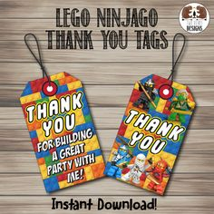 Lego Ninjago Thank You Luggage Tags. Instant Download! Printable/Digital File