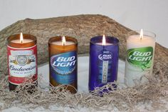 Beer Bottle Candle Upcycled from Budweiser and Bud Light Beer Bottles, Custom Made Candle, Great Gift for the Beer Lover or Bud Drinker Liquor Bottle Crafts, Bottle Candles, Beer Bottles, Glass Bottle, Beer Bottle Lights, Empty Liquor Bottles, Bottle Top, Bud Light Beer, Lorraine
