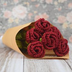 Romance Rose for every romantic person. Other colors are also available. Crochet Flower rose bridal bouquet.