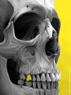 Golden #skull illustration 2013, par Shannon Posedenti, USA