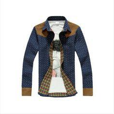 Cool Cotton Contrast Shirt Polka Dot Style #Dot #shirt #Men #Fashion