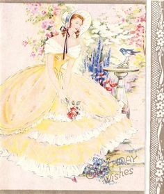 Full Sized Image: BIRTHDAY WISHES lady in yellow dress stands in garden, bluebird on sundial Vintage Greeting Cards, Vintage Ephemera, Vintage Postcards, Vintage Images, Love Illustration, Floral Illustrations, Vintage Birds, Vintage Art, Happy Birthday Vintage