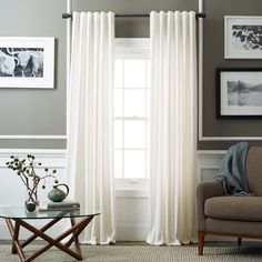 Velvet Pole Pocket Curtain - Ivory | West Elm $59 – $99 special $47 – $79 | Simple, pretty- thinking Living Room + Dining Room
