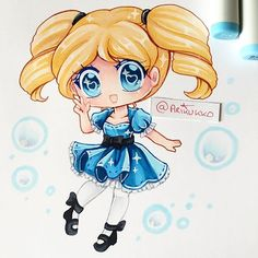 Chibi of (my version) of Bubbles from Powerpuff Girls! =D Powerpuff Girls was one of my favourite shows as a kid, and bubbles was my favourite~ #paigeeworld #bubbles #powerpuffgirls #ppg #fanart #chibi #copic #copicmarkers #copicmarker #kawaii #copicart #traditionalart #chibiart