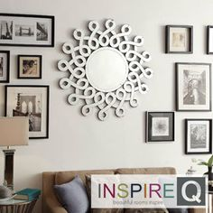 Nihoa Silver Interconnected Curls Sunburst Accent Wall Mirror