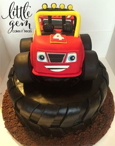 Blaze and the Monster Machine cake Tire cake Birthday cake for boys