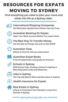 Resources for Expats Moving to Sydney, Australia. This is a long list of resources to help you out with your move to Australia. Be sure to…
