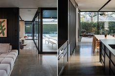 When the pavilion sliders are closed, the living space acts as a glasshouse; the kitchen, like the pavilion, is constructed in black and keeps within the purposely narrow materiality of the space. Outdoor Seating Areas, Outdoor Spaces, Villa Game, Aluminium Joinery, Sliding Screen Doors, Gone Rogue, Roof Lines, Modern Backyard, Double Garage